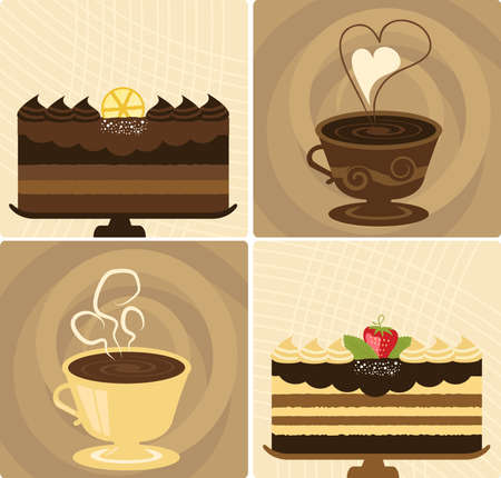 Coffee Cup with Delicious Chocolate Holiday Cake Vector