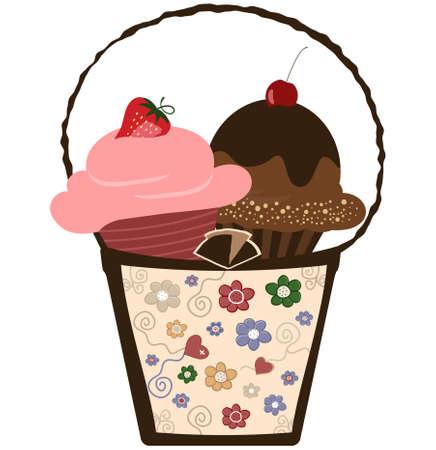 giftbasket: Cupcakes in fraai cadeau mandje illustratie