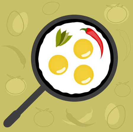 Fried Eggs over Creative Food Background