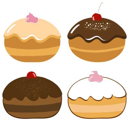 Vector Delicious Hanukkah Donuts Set Vector