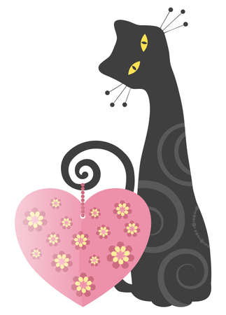 Kitty with Heart Valentines Day Design Stock Photo