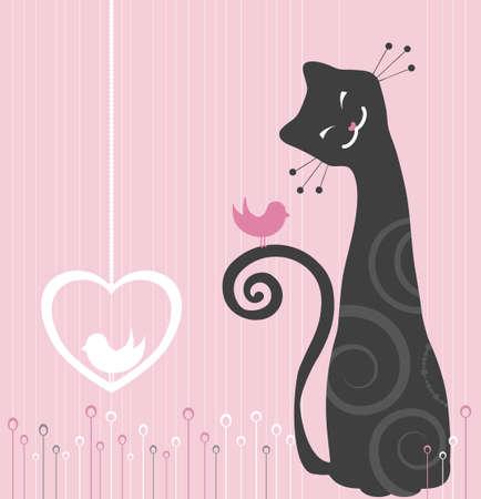 silueta de gato: Alegre Cat y Bird