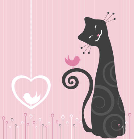 whimsical: Cheerful Cat and Bird Illustration