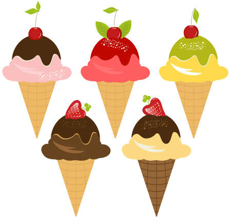 mousse: Delicious Ice-Cream with Various Flavors on white background Stock Photo