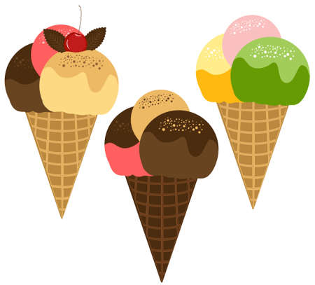 waffle: Ice Cream Illustration