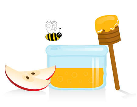 jewish new year: Apple and Honey Illustration