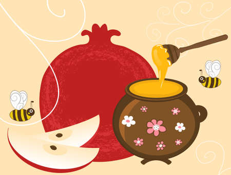 jewish new year: Vector Pomegranate, Apple and Honey in Pot