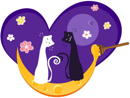 Cats and Honey Moon Valentines Day Design Element Vector