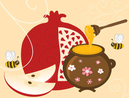 Pomegranate, Apple and Honey in Pot Vector