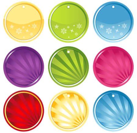 Round Glassy Colorful Icons Set  Vector