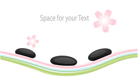 massage spa: Spa Stones and Sakura Flowers Design Elements