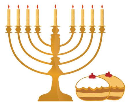Hanukkah Symbols On White Background  photo