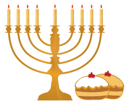 Hanukkah Symbols On White Background  Stock Photo