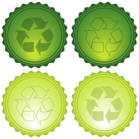 Vector Recycle Symbols Glassy Icons eps10