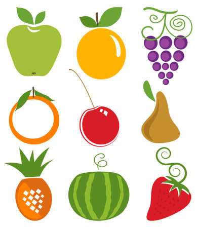 Vector Fruits Icons Set Illustration