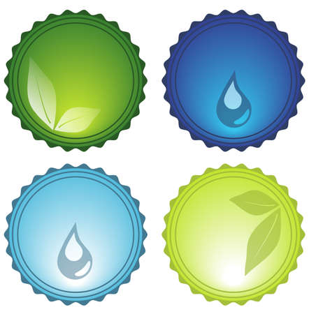 Vector Beautiful Nature Elements Glassy Icons