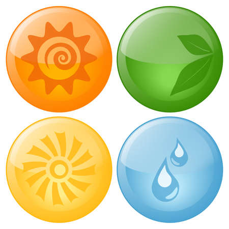 Vector Beautiful Nature Elements Glassy Icons Stock Vector - 8846032