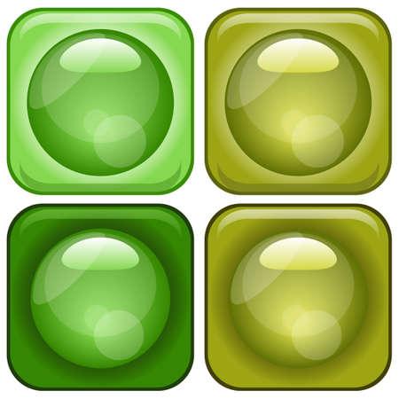 Modern Glassy Icons Set Illustration