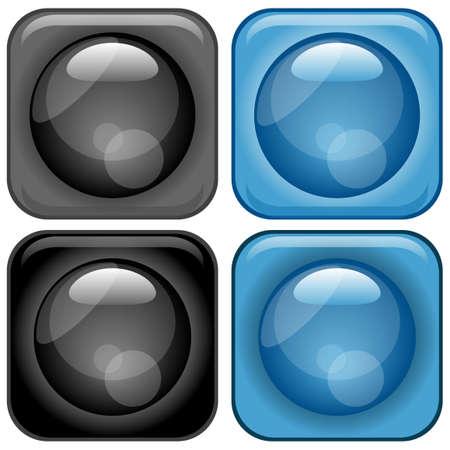 glassy: Modern Glassy Icons Set Illustration
