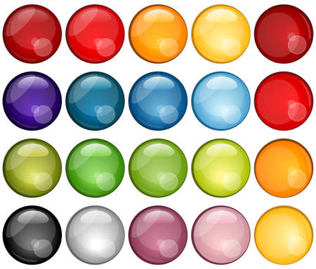 Colorful Glassy Icons Set Illustration