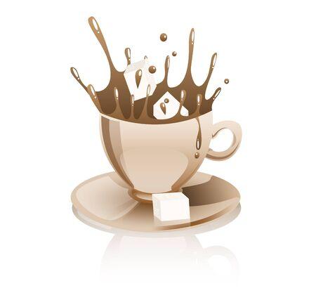 sugar cube: Coffee splashing  Illustration