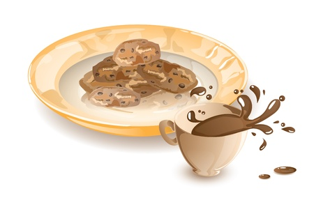 crusty: Dish with cookies and a splashing coffee Illustration