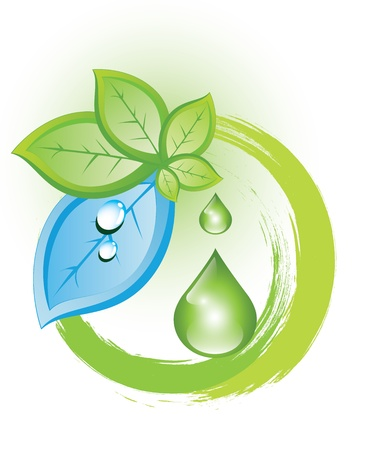drops of water: Eco symbol with green and blue leaves
