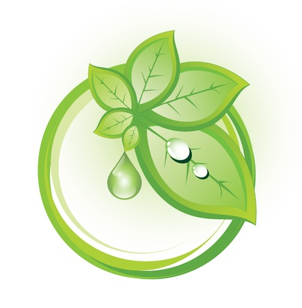 Abstract eco symbol with plant and drop