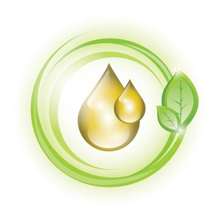 Eco gotas de aceite con la planta