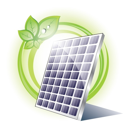 clean energy: Solar panel with plant Illustration
