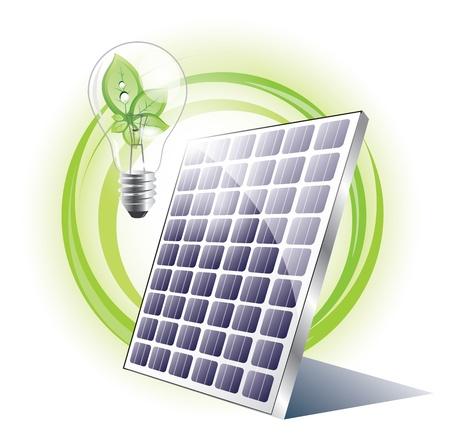 Solar panel with light bulb