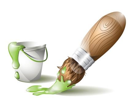 paintbucket: Paintbrush and paint bucket with green paint Illustration