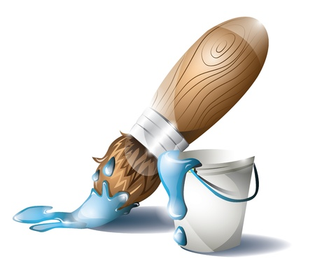 Paintbrush and paint bucket with blue paint Vector