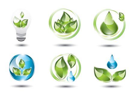 Eco icons set Illustration