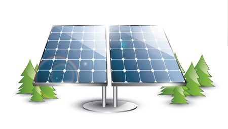 Solar panel set in the nature Illustration