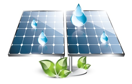 Solar panel set with blue drops Vector