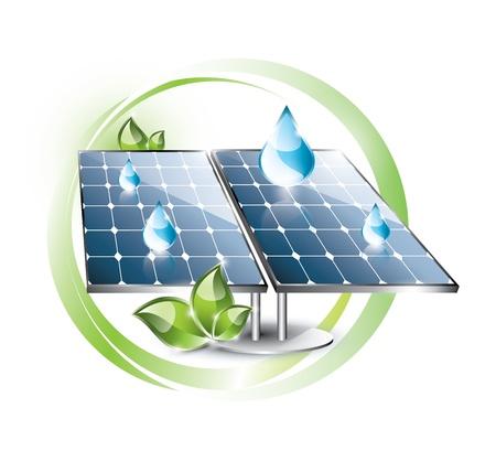 블루 방울과 자연 레이블에 설정 태양 전지 패널 일러스트