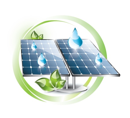 Solar panel set in the nature label with blue drops Vector
