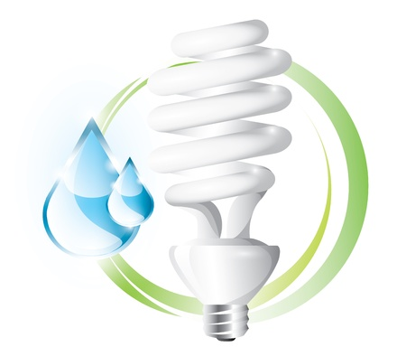 Fluorescent lightbulb with drops label Vector
