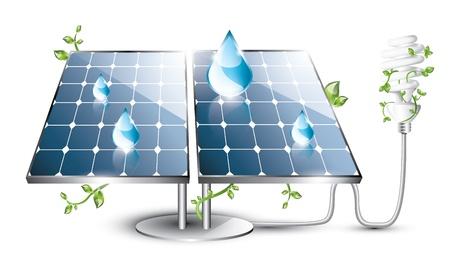 형광 전구와 태양 전지 패널