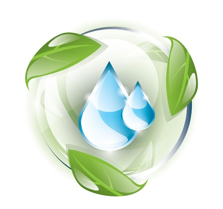 Blue drops in glass globe, recycle Vector