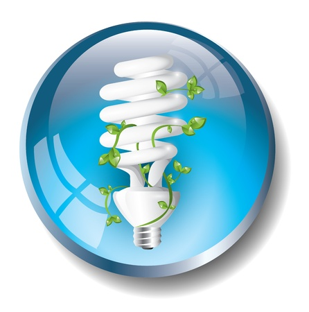 Blue badge with fluorescent lightbulb Vector