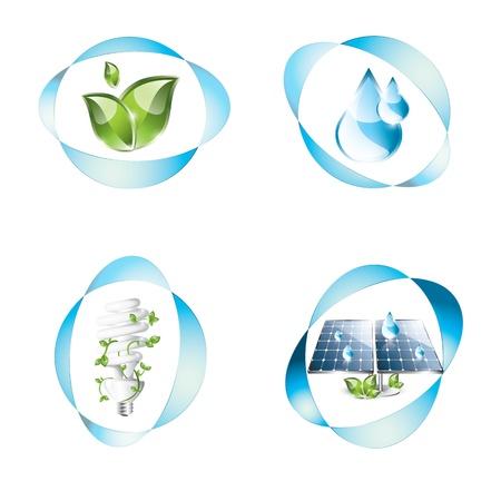 photovoltaic panel: Eco icons set Illustration