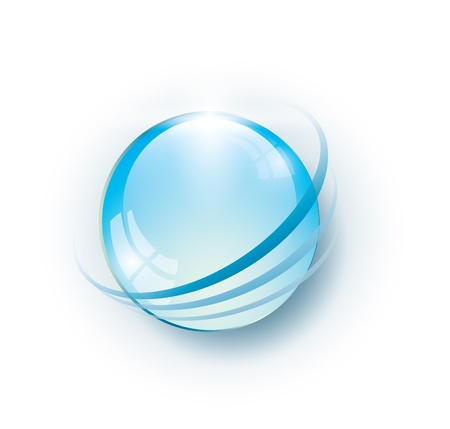 environmentally: Blue glass ball with rings