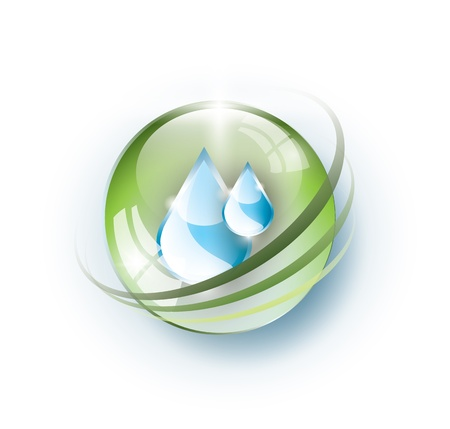 Green glass ball with rings and blue drops Vector