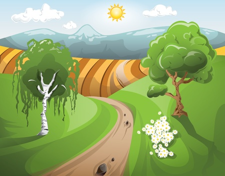 lanscape: Peaceful sunny rural lanscape Illustration