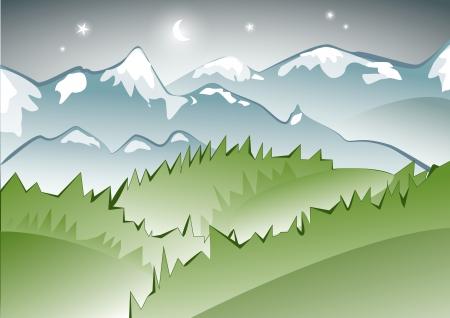 snow field: Night mountain scenery