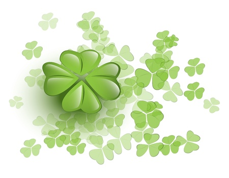 Bunch of clovers with a four-leafed clover Vector