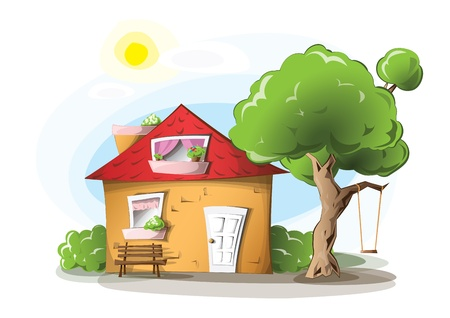 Cosy cartoon house with a swing Vector