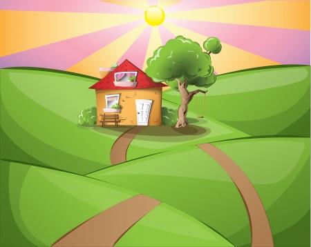 fairy cartoon: Sunset paisaje con una casa